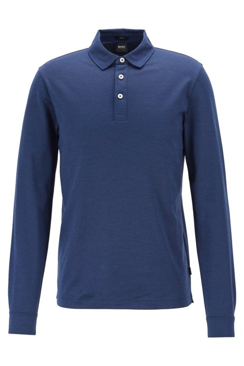 Hugo Boss - Slim-fit polo shirt in Oxford cotton with shark collar - 1