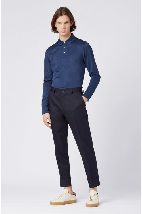 Hugo Boss - Slim-fit polo shirt in Oxford cotton with shark collar - 2