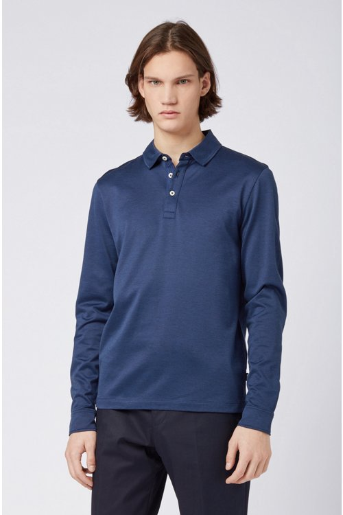 Hugo Boss - Slim-fit polo shirt in Oxford cotton with shark collar - 4