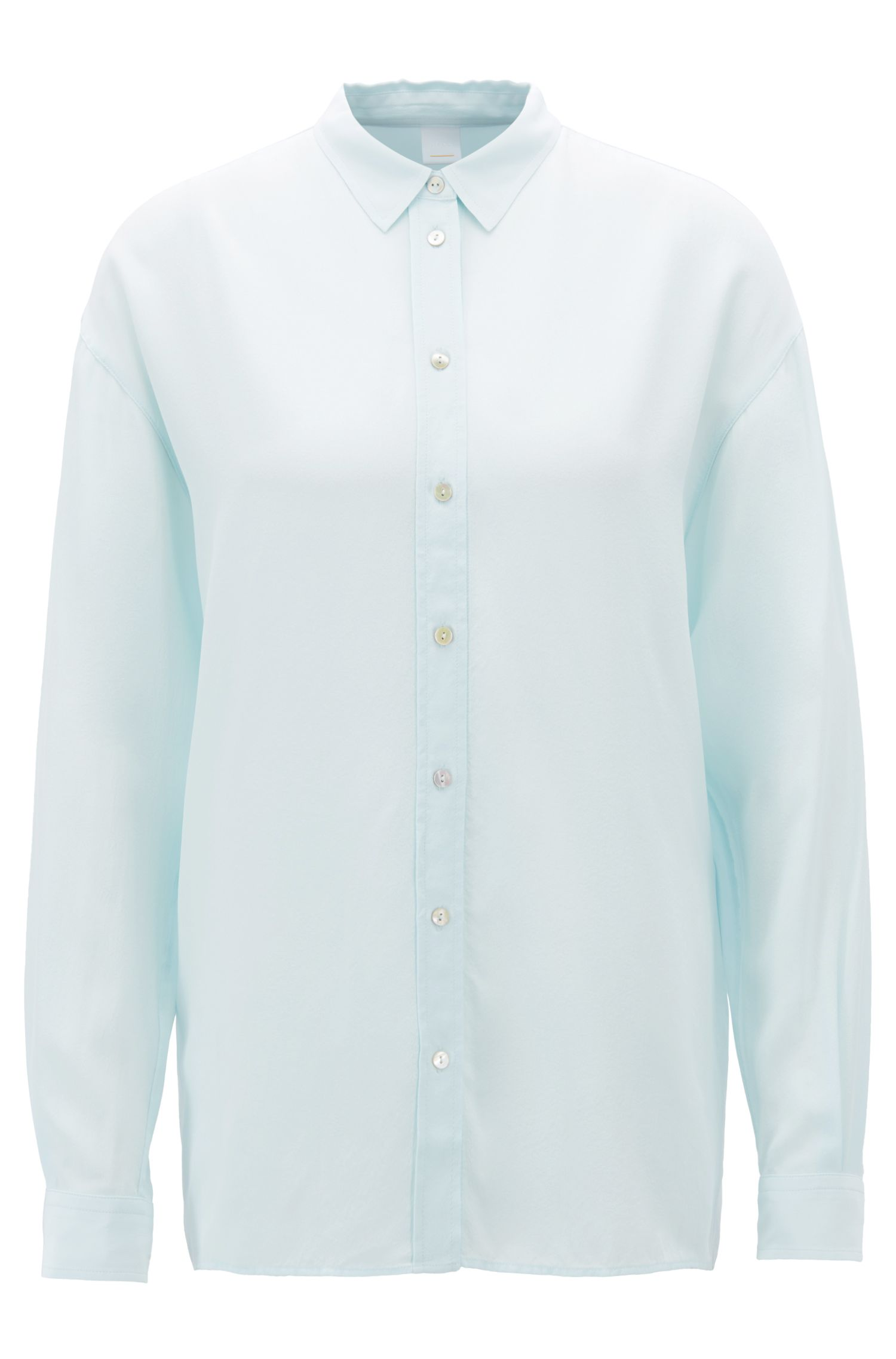 Oversized-fit blouse in washed silk, Light Blue