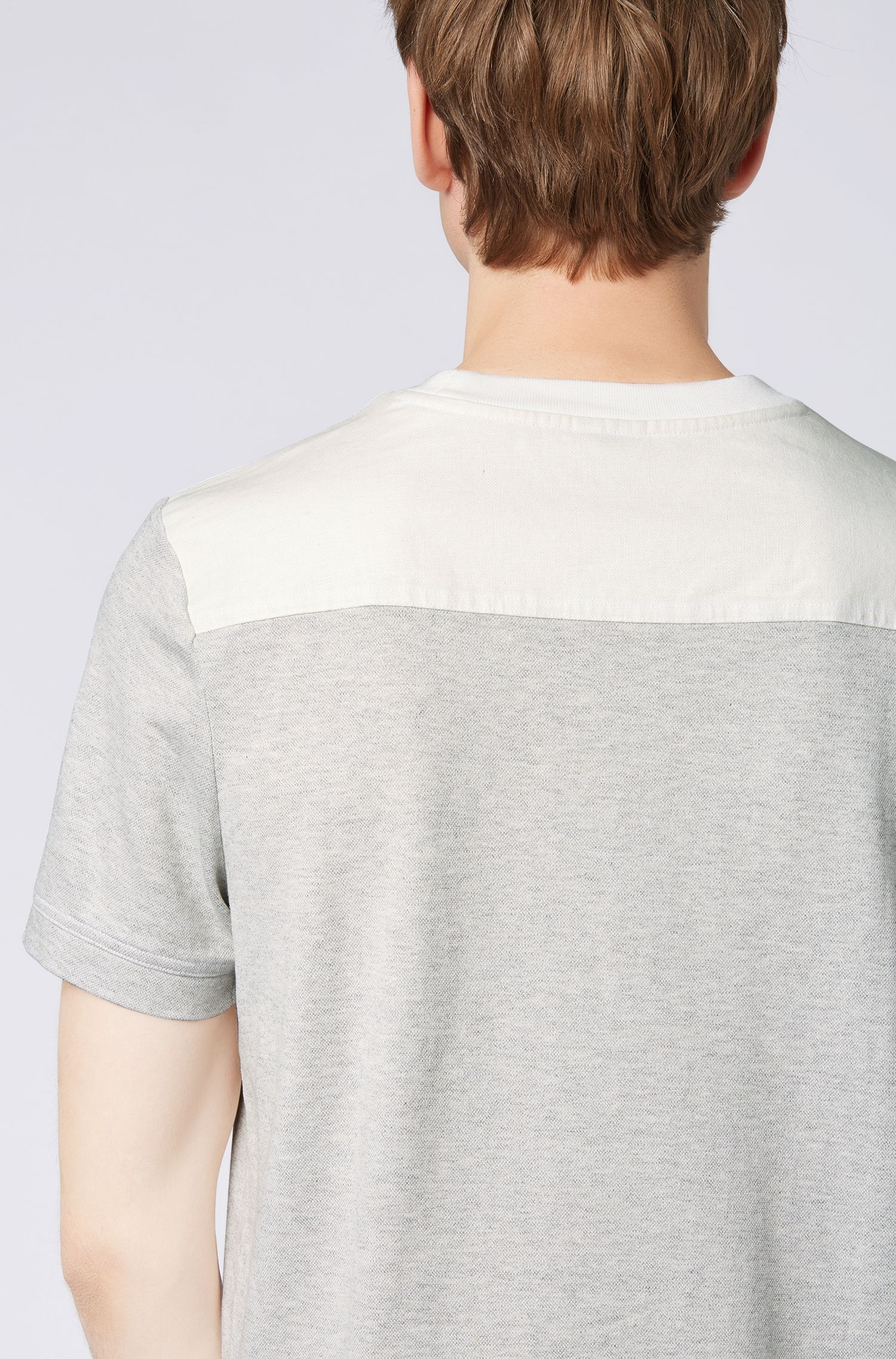 Relaxed-fit melange T-shirt with contrast back yoke, White