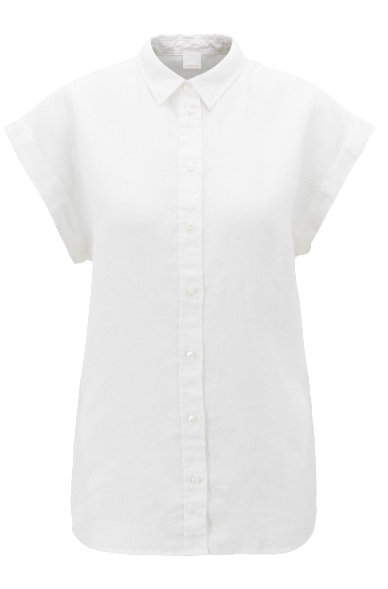 Short-sleeved blouse in pure linen with point collar, White