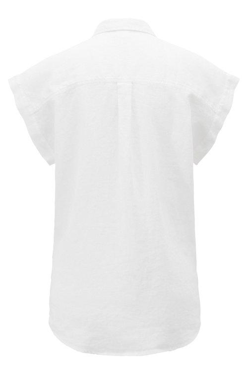 Hugo Boss - Blusa de manga corta en lino puro con cuello de pico - 3