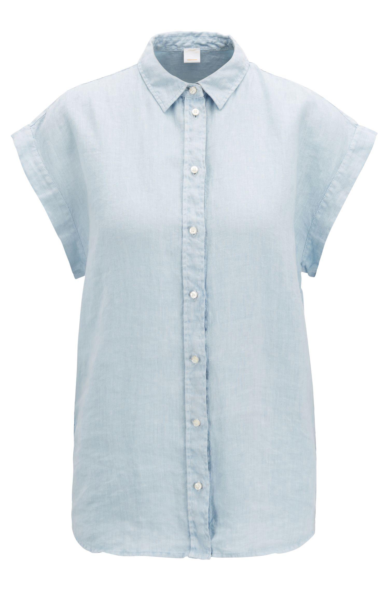 Blouse van zuiver linnen met korte mouwen en puntkraag, Lichtblauw