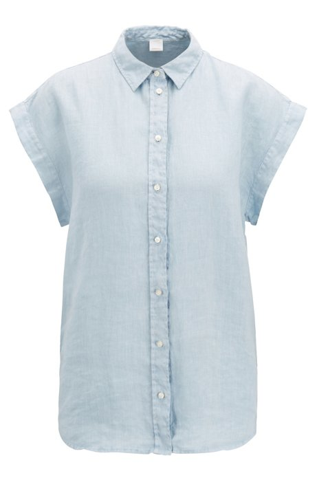 071de261f BOSS - Short-sleeved blouse in pure linen with point collar