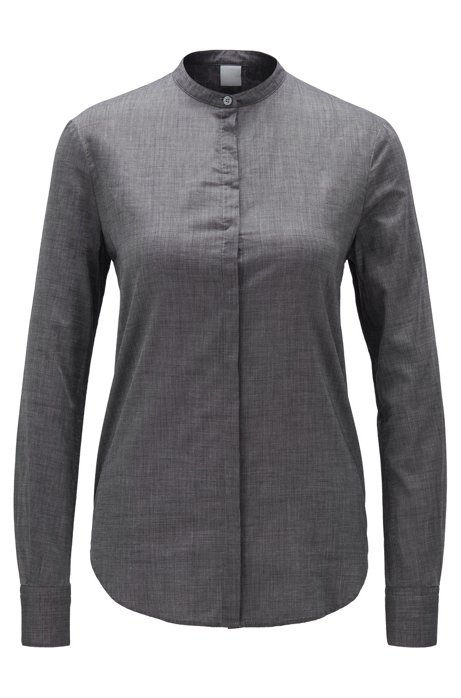 Relaxed-fit blouse in cotton-blend chambray , Dark Grey