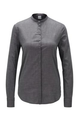Relaxed-Fit Bluse aus Baumwoll-Mix, Dunkelgrau