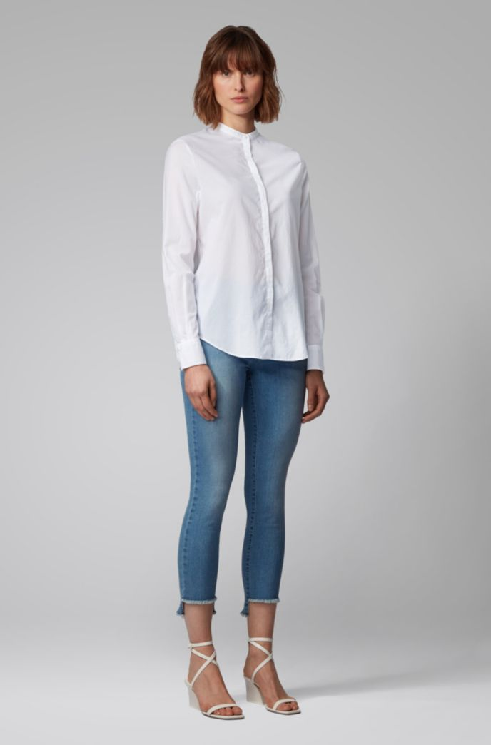 Relaxed-fit blouse in cotton-blend chambray