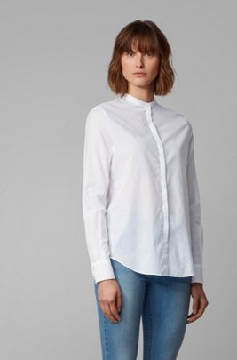 Relaxed-fit blouse in cotton-blend chambray , White