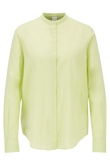 Relaxed-fit blouse in cotton-blend chambray , Light Green