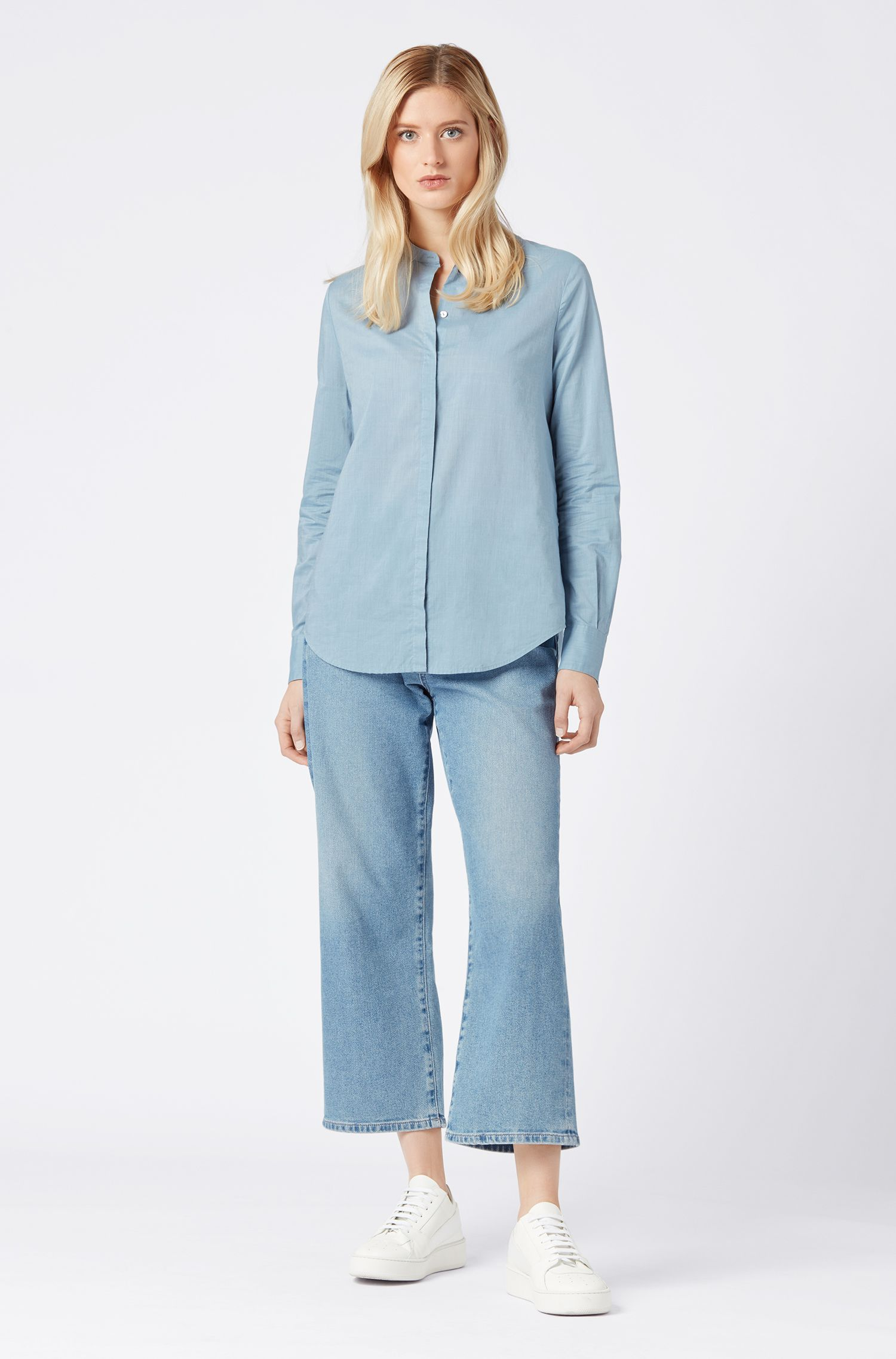 Relaxed-fit blouse in cotton-blend chambray, Blue