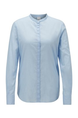 Relaxed-fit blouse in cotton-blend chambray , Light Blue