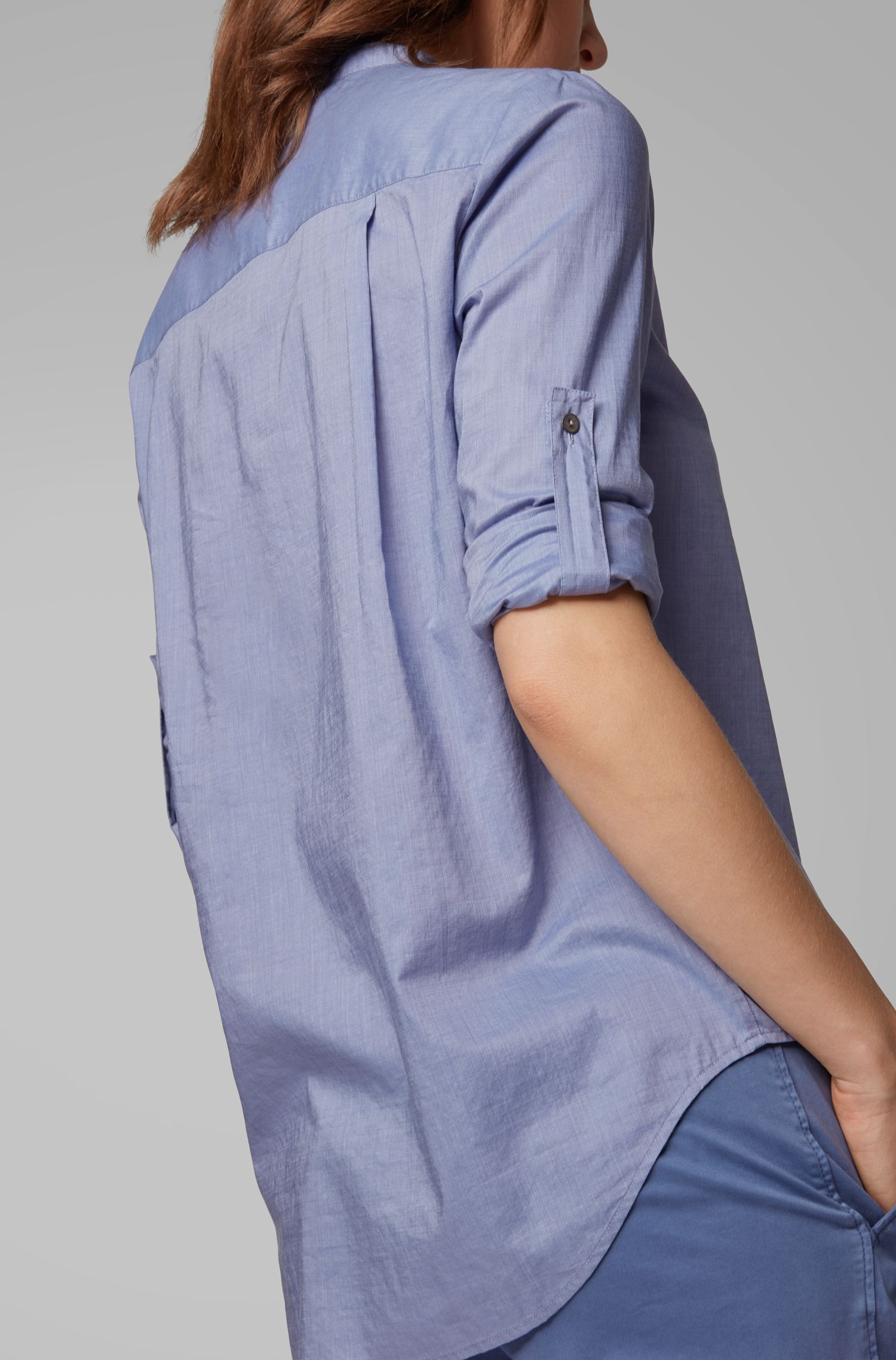 Relaxed-Fit Bluse aus Baumwoll-Mix, Hellblau