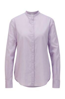 Chemisier Relaxed Fit en chambray de coton mélangé, Violet clair