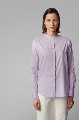 Relaxed-fit blouse in cotton-blend chambray , Light Purple