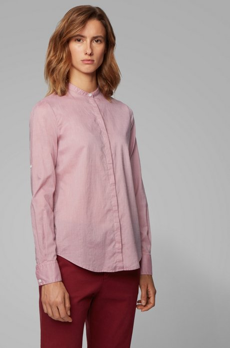 Relaxed-Fit Bluse aus Baumwoll-Mix, Hellrosa