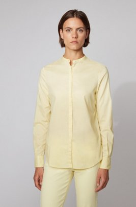 Relaxed-fit blouse in cotton-blend chambray , Light Yellow