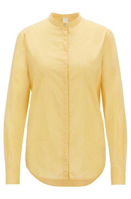 Relaxed-fit blouse in een chambray van een katoenmix, Lichtgeel
