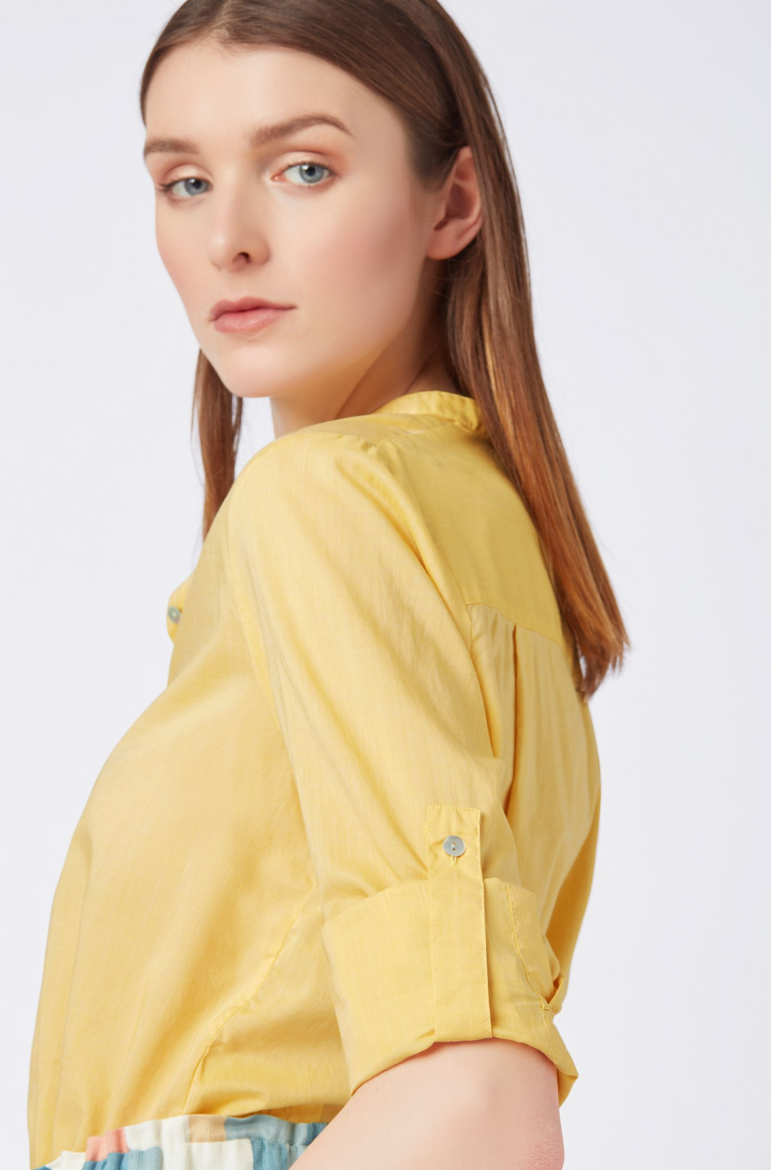 Relaxed-fit blouse in cotton-blend chambray, Light Yellow