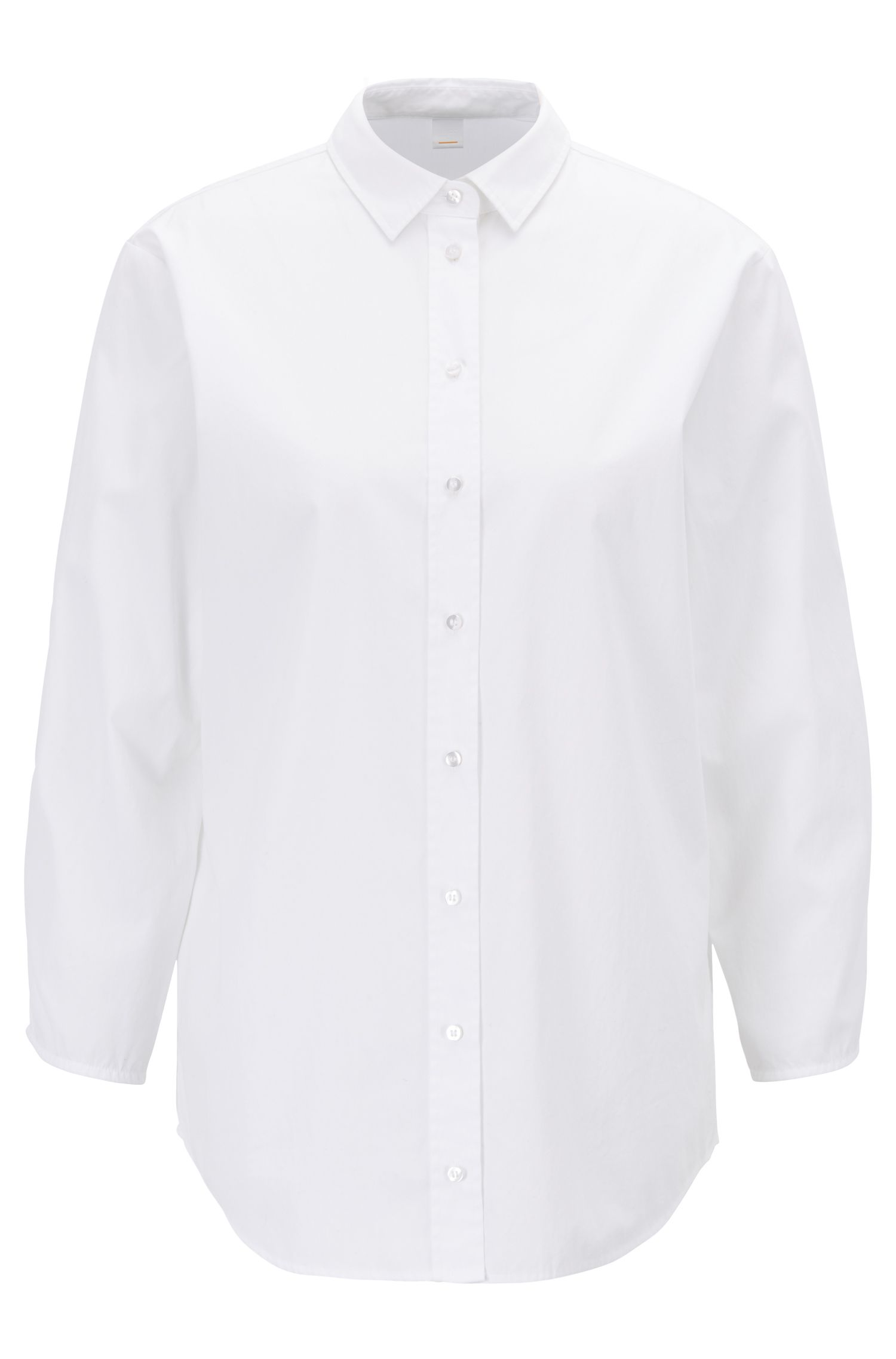Shirt-style blouse in cotton poplin with smocked sleeves, White