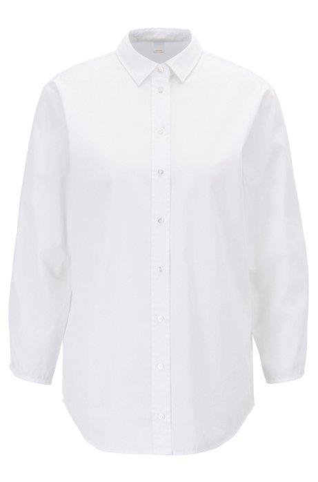 Bluse im Hemden-Stil aus Baumwoll-Popeline mit gesmokten Ärmeln, Weiß