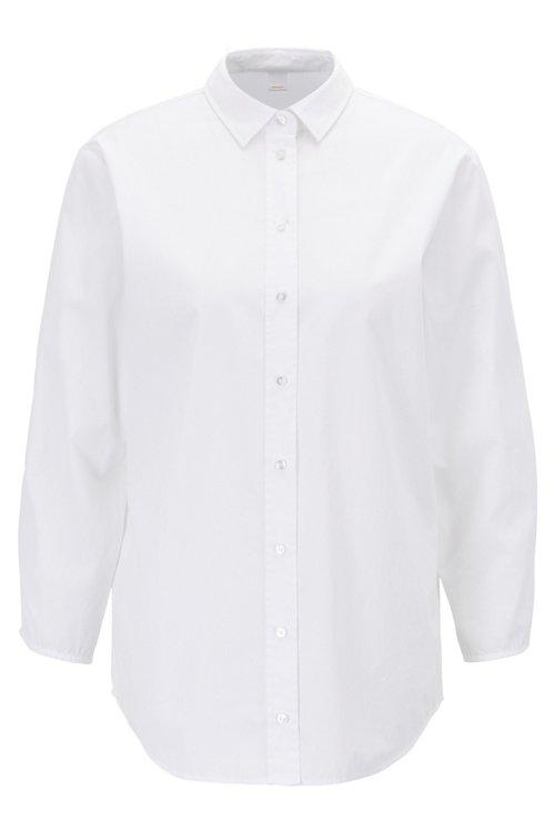 Hugo Boss - Bluse im Hemden-Stil aus Baumwoll-Popeline mit gesmokten Ärmeln - 1
