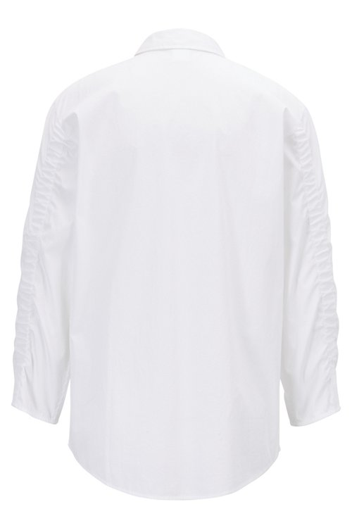 Hugo Boss - Blusa de estilo camisero en popelín de algodón con mangas fruncidas - 3