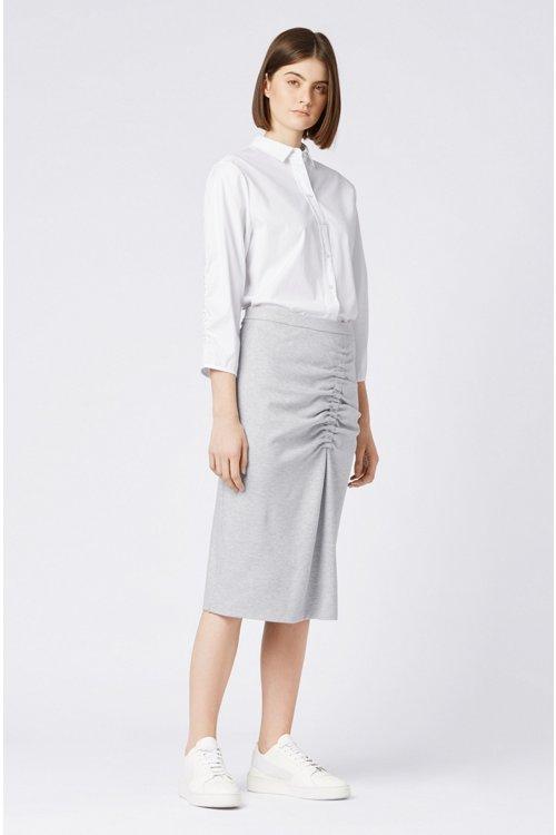 Hugo Boss - Bluse im Hemden-Stil aus Baumwoll-Popeline mit gesmokten Ärmeln - 2