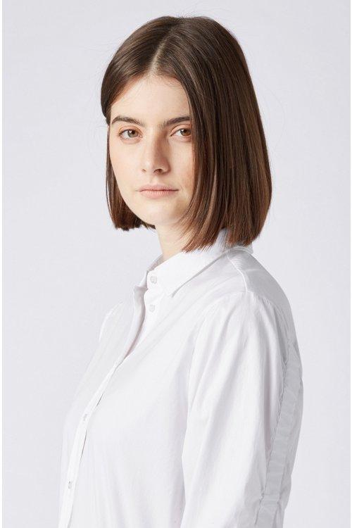 Hugo Boss - Bluse im Hemden-Stil aus Baumwoll-Popeline mit gesmokten Ärmeln - 4
