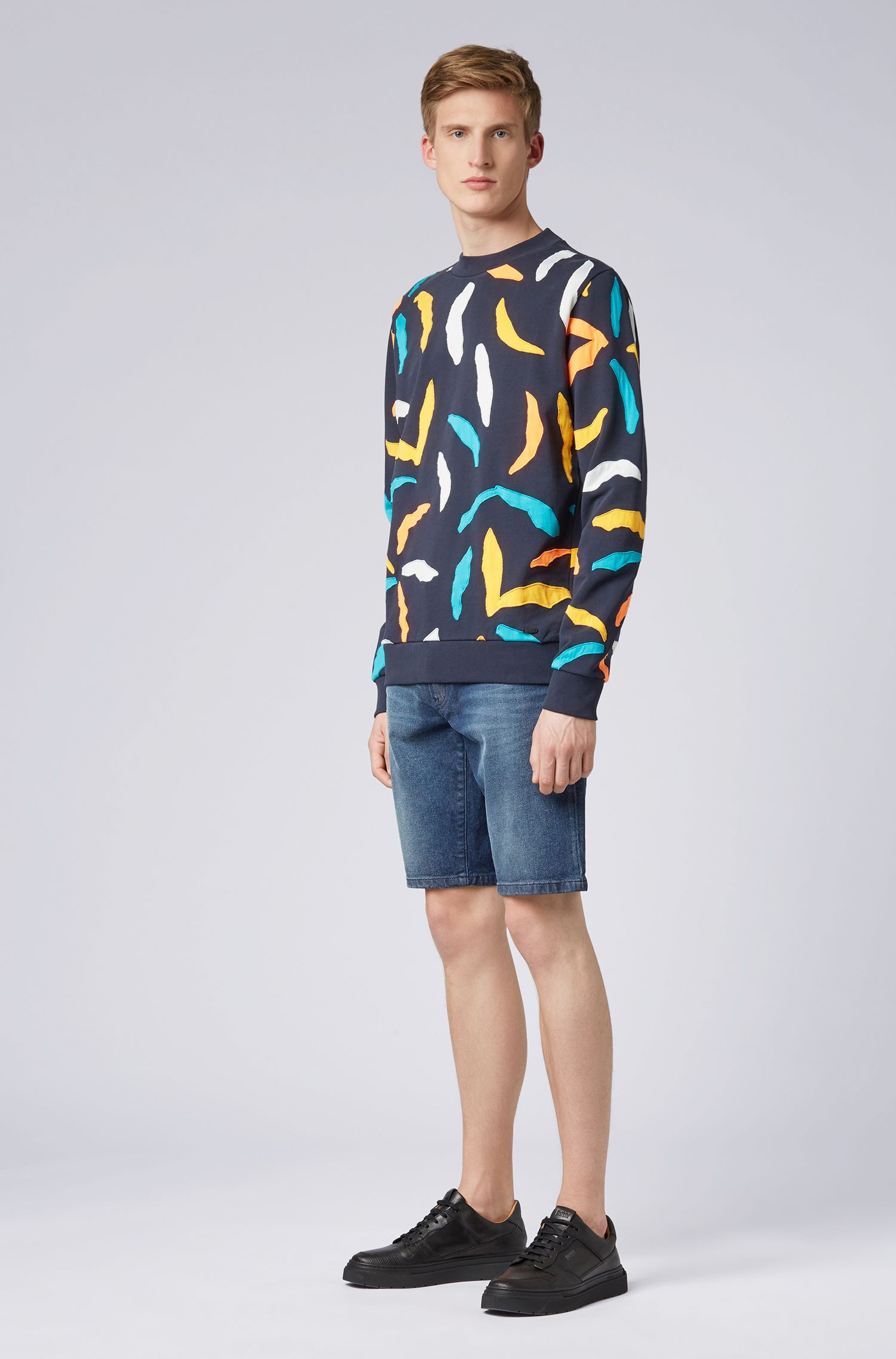 Felpa in french terry con patchwork all-over, Blu scuro