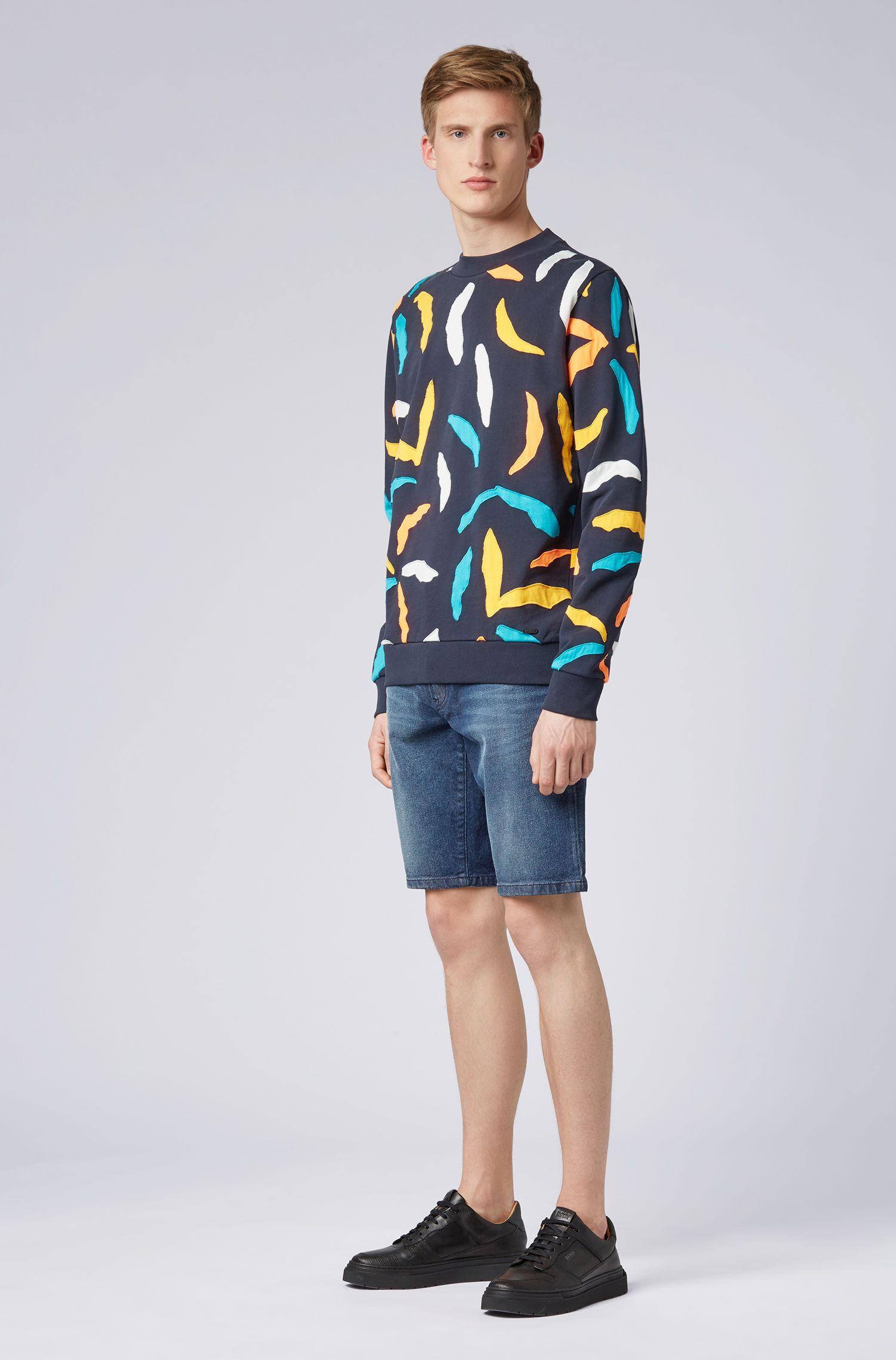 Sudadera en felpa de rizo con diseño de patchwork por toda la prenda, Azul oscuro