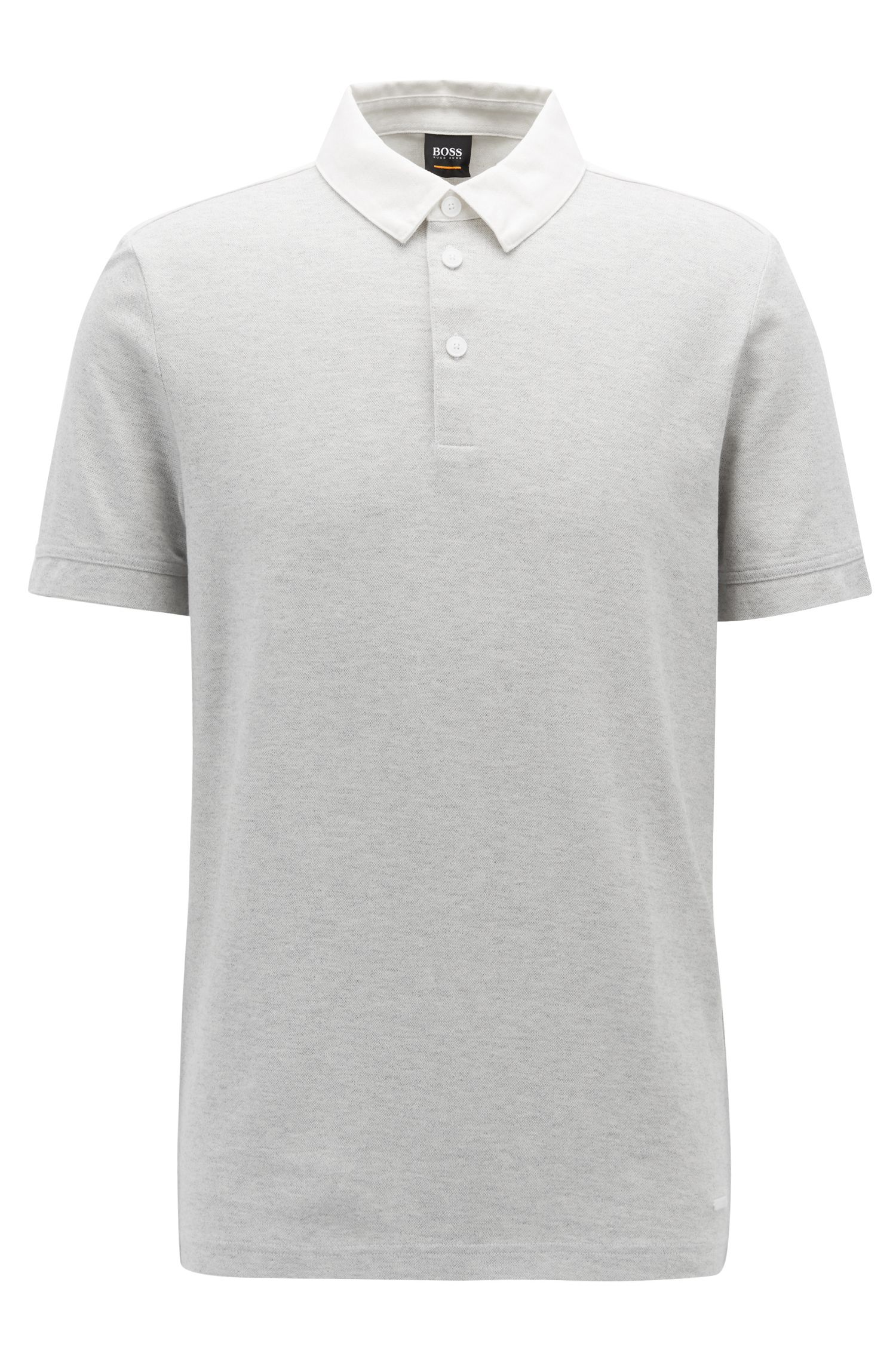 Polo chiné Relaxed Fit avec empiècement dos contrastant, Blanc