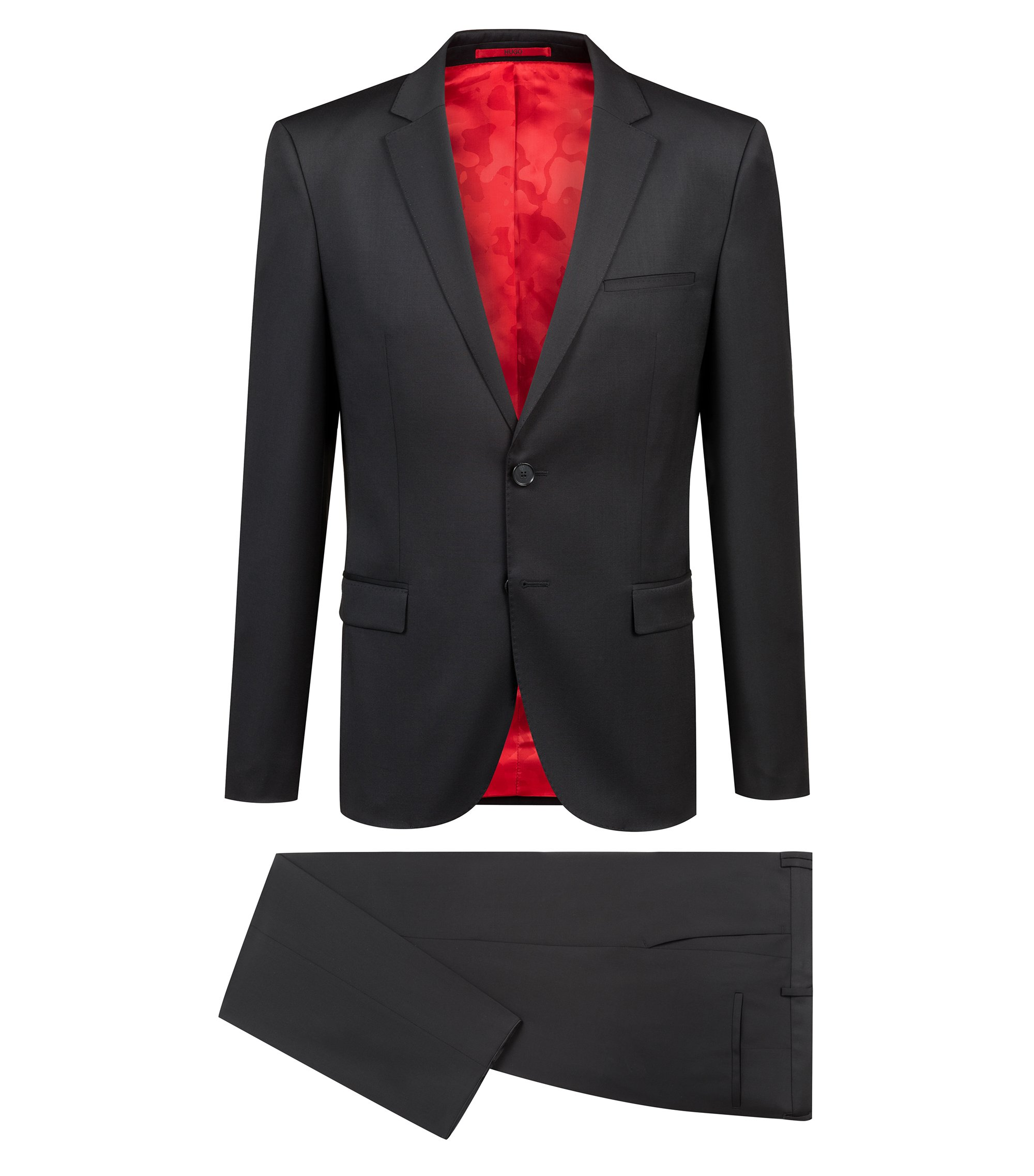 Extra-slim-fit virgin-wool suit with natural stretch, Black