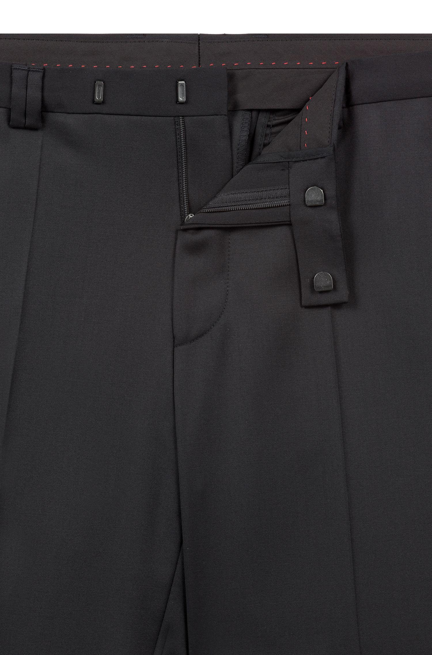 Extra slim-fit kostuum van scheerwol met natuurlijke stretch, Zwart