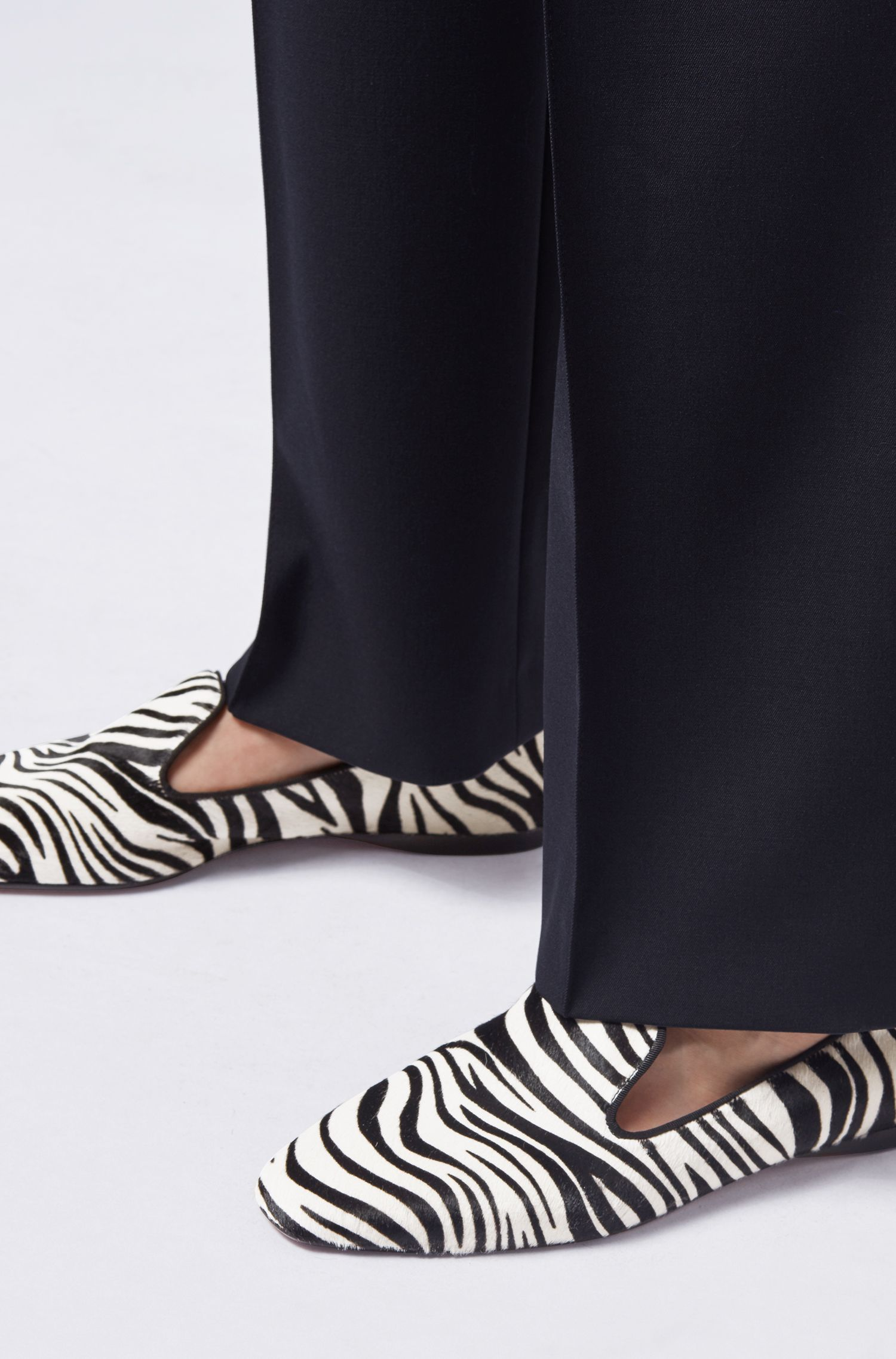 Gallery Collection loafers in zebra-print calf hair, Black