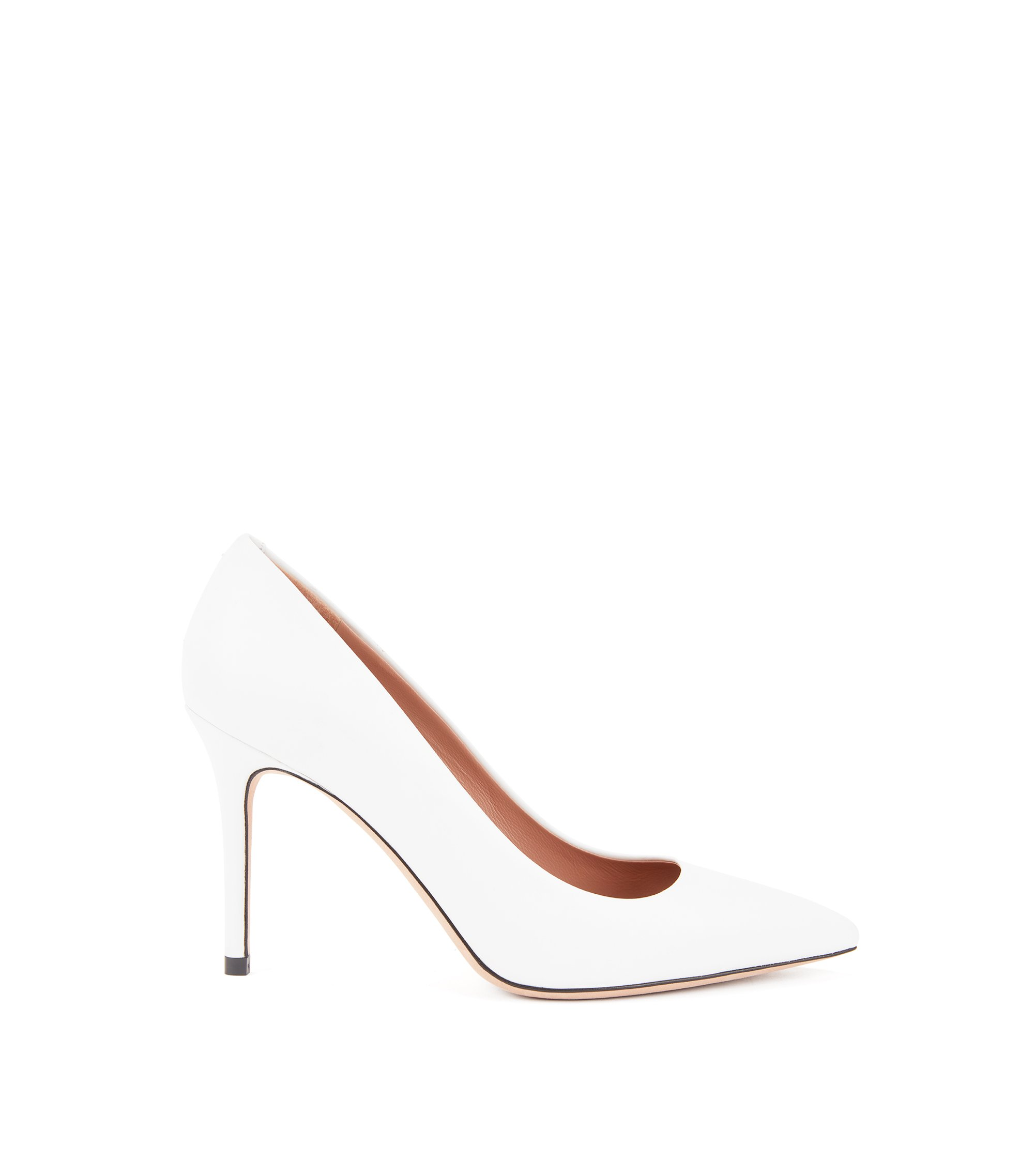 Gallery Collection court shoes in Italian calf leather, White