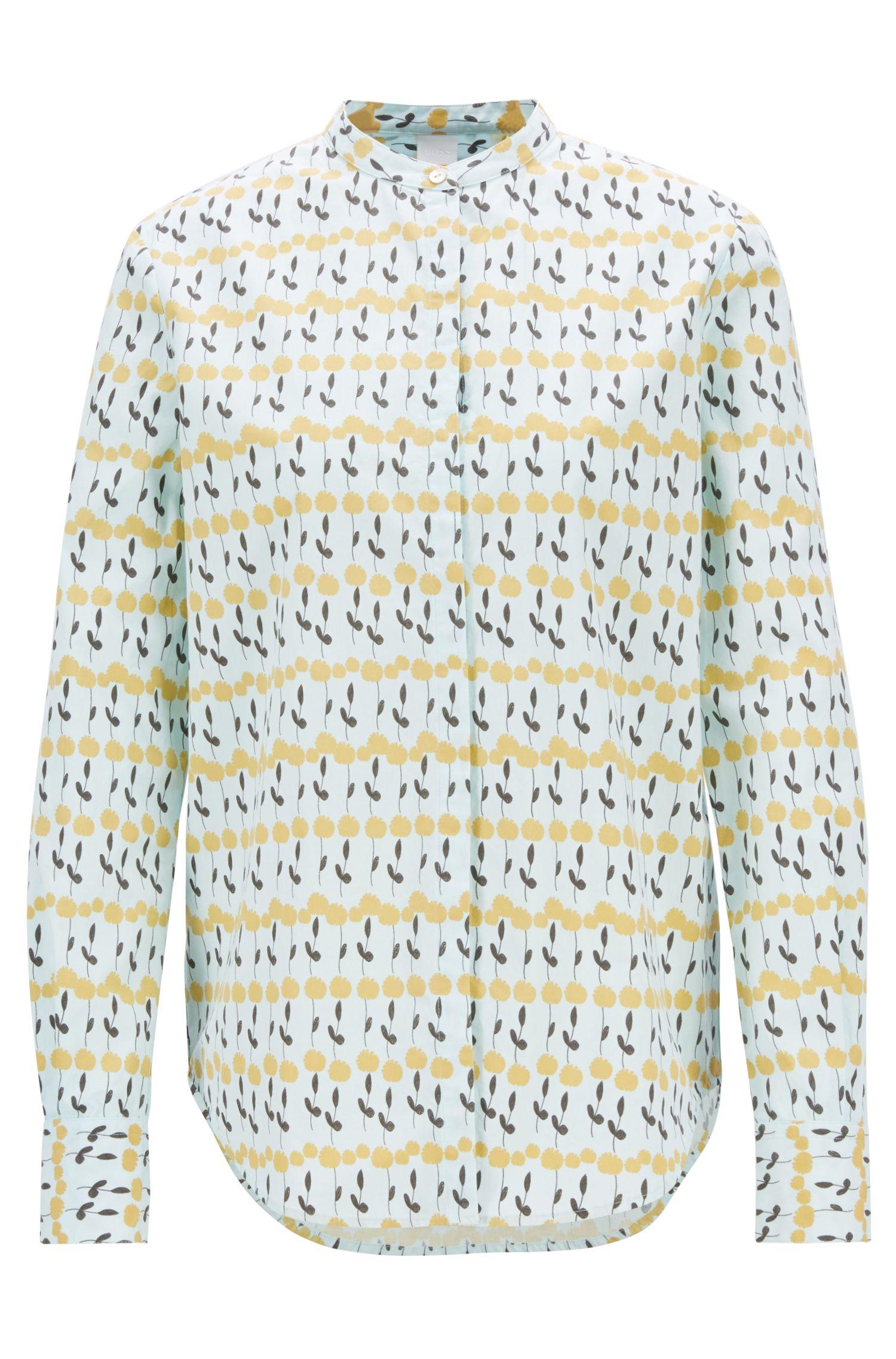 Relaxed-Fit Bluse aus Baumwoll-Popeline mit Blumen-Print, Gemustert