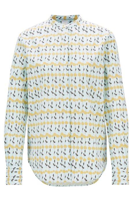 Relaxed-fit blouse van katoenen popeline met bloemenprint, Bedrukt