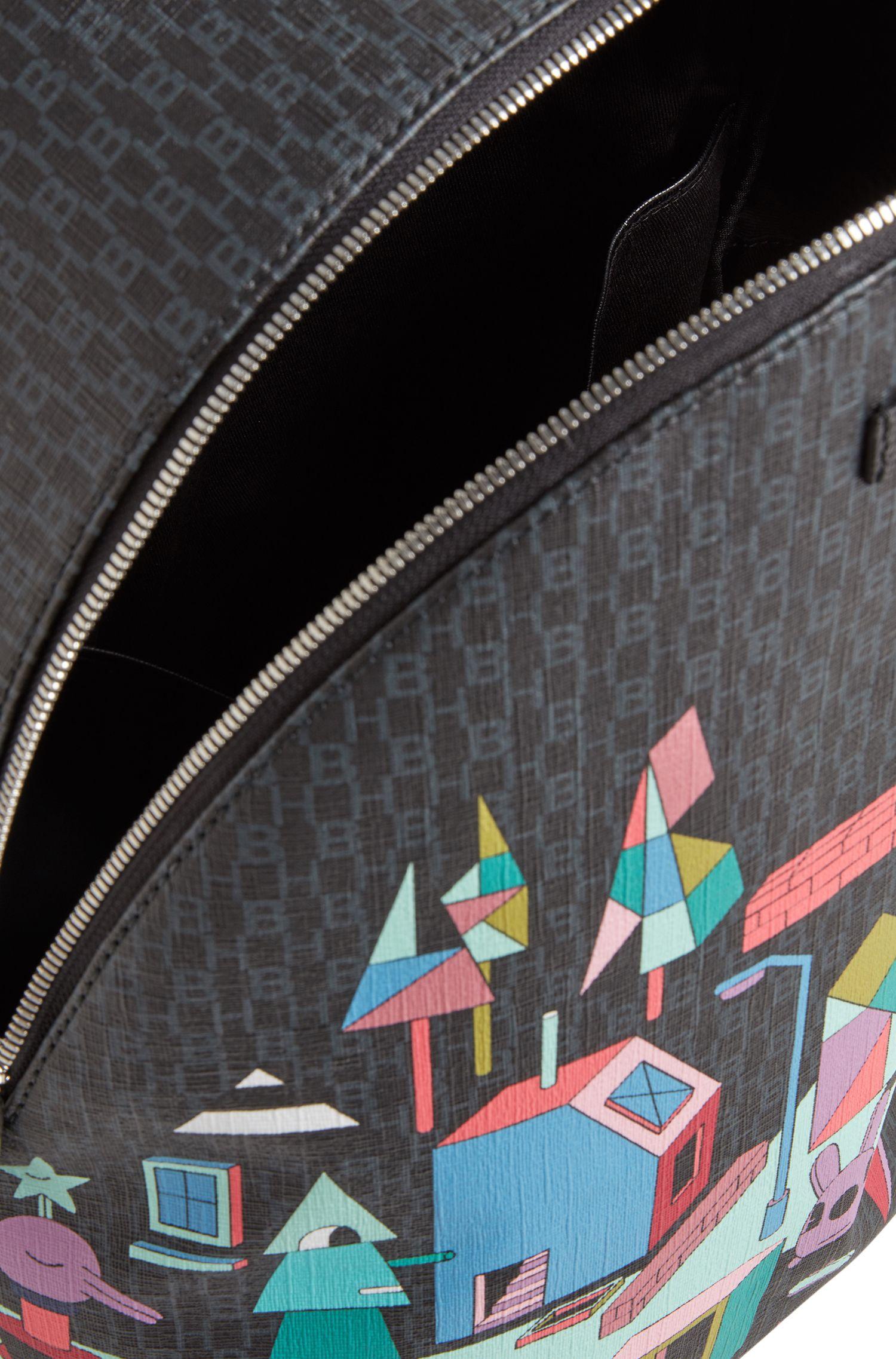 Sac à dos monogrammé en édition limitée orné d'un imprimé paysage coloré Jeremyville, Fantaisie