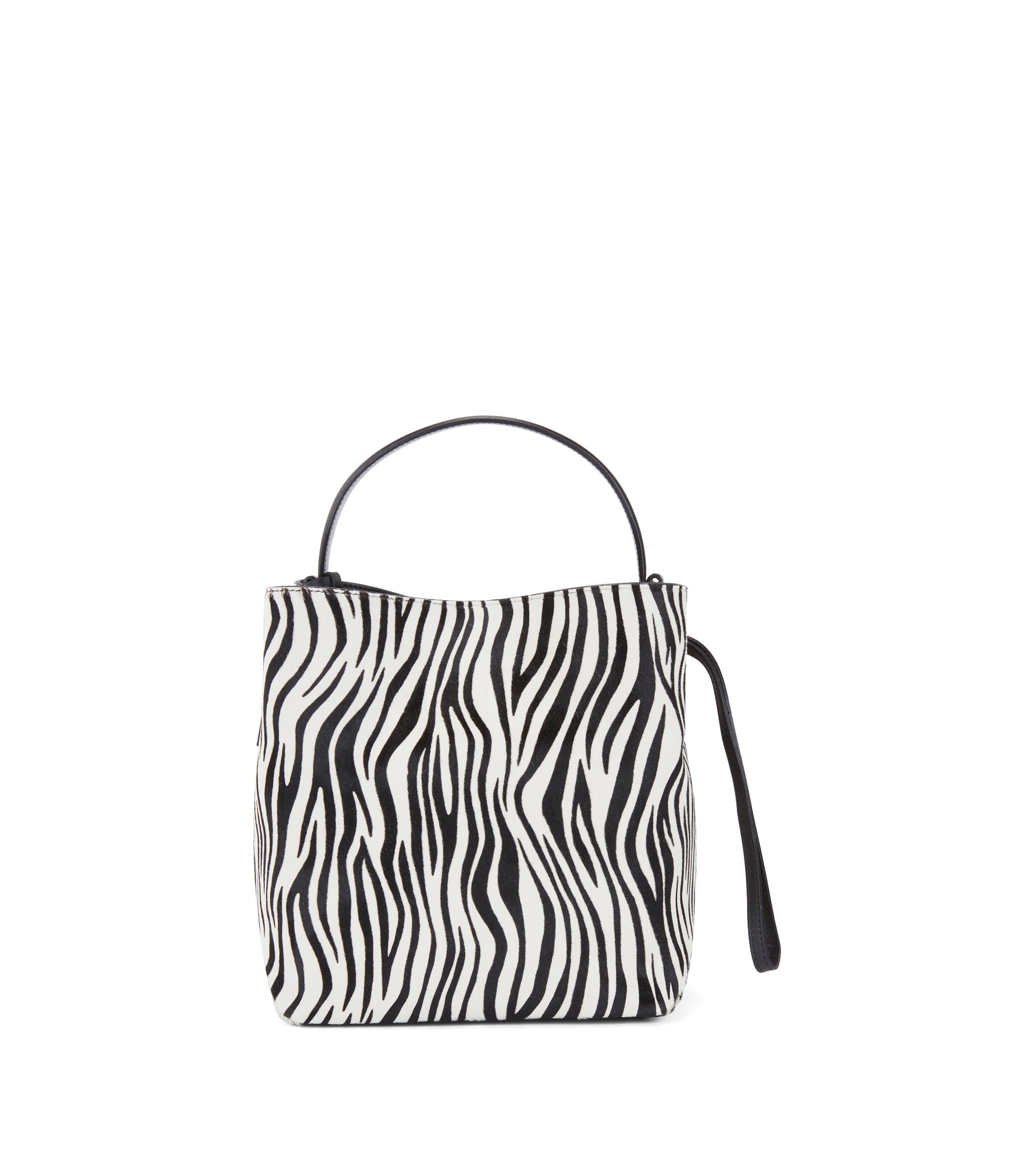 Gallery Collection bucket bag in zebra-print calf fur, Black