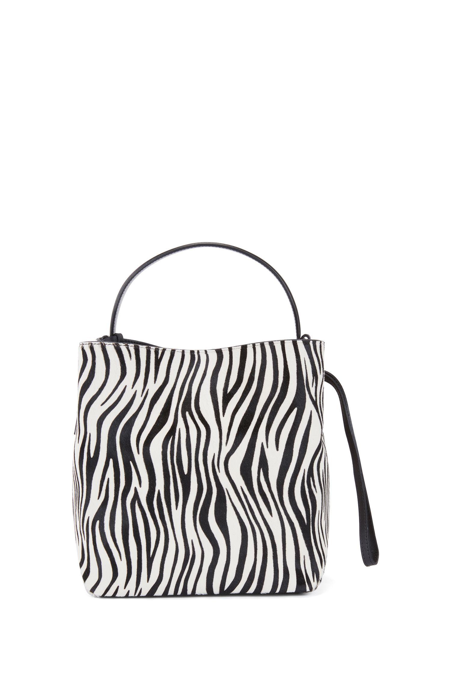 Gallery Collection bucket bag in zebra-print calf fur, Black