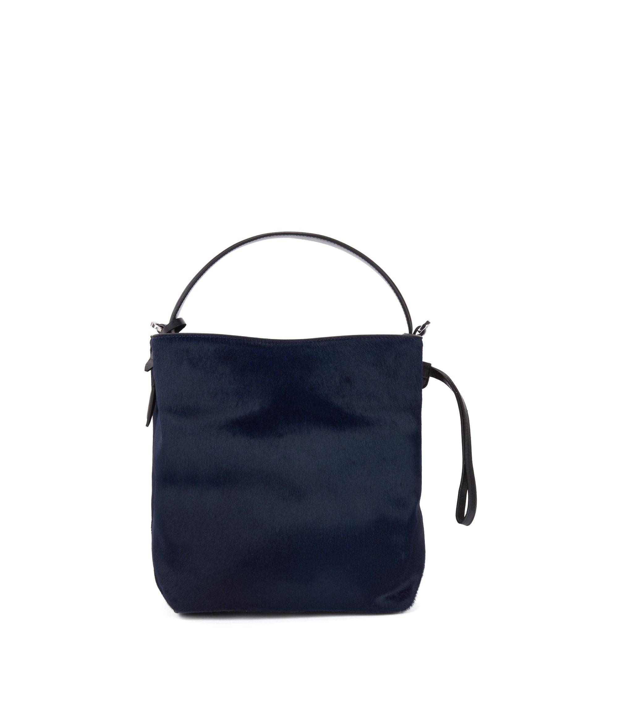 Gallery Collection bucket bag in premium Italian calf fur, Open Blue