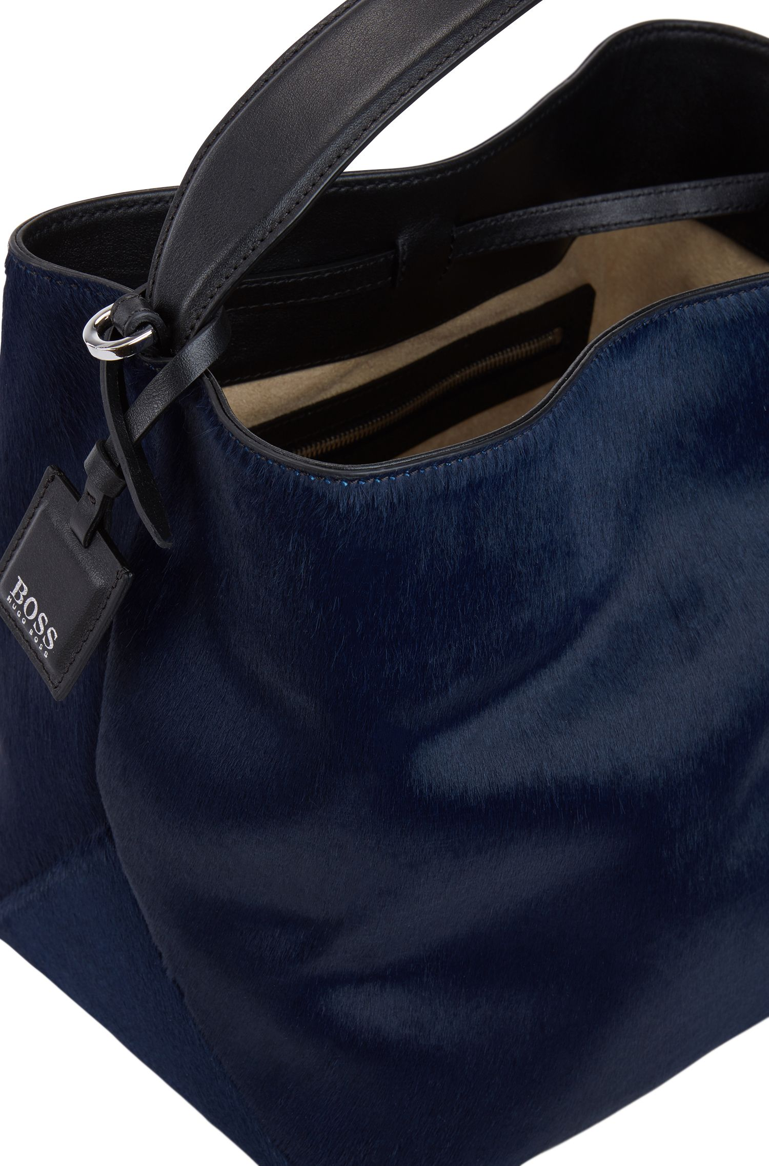 Bucket bag uit de Gallery Collectie, van premium Italiaans kalfsvel, Lichtblauw