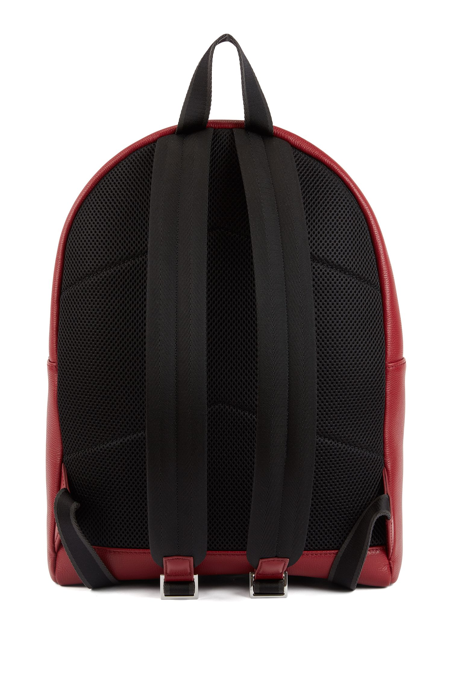 Limited Edition Rucksack aus italienischem Leder mit Jeremyville-Schwein, Dunkelrot
