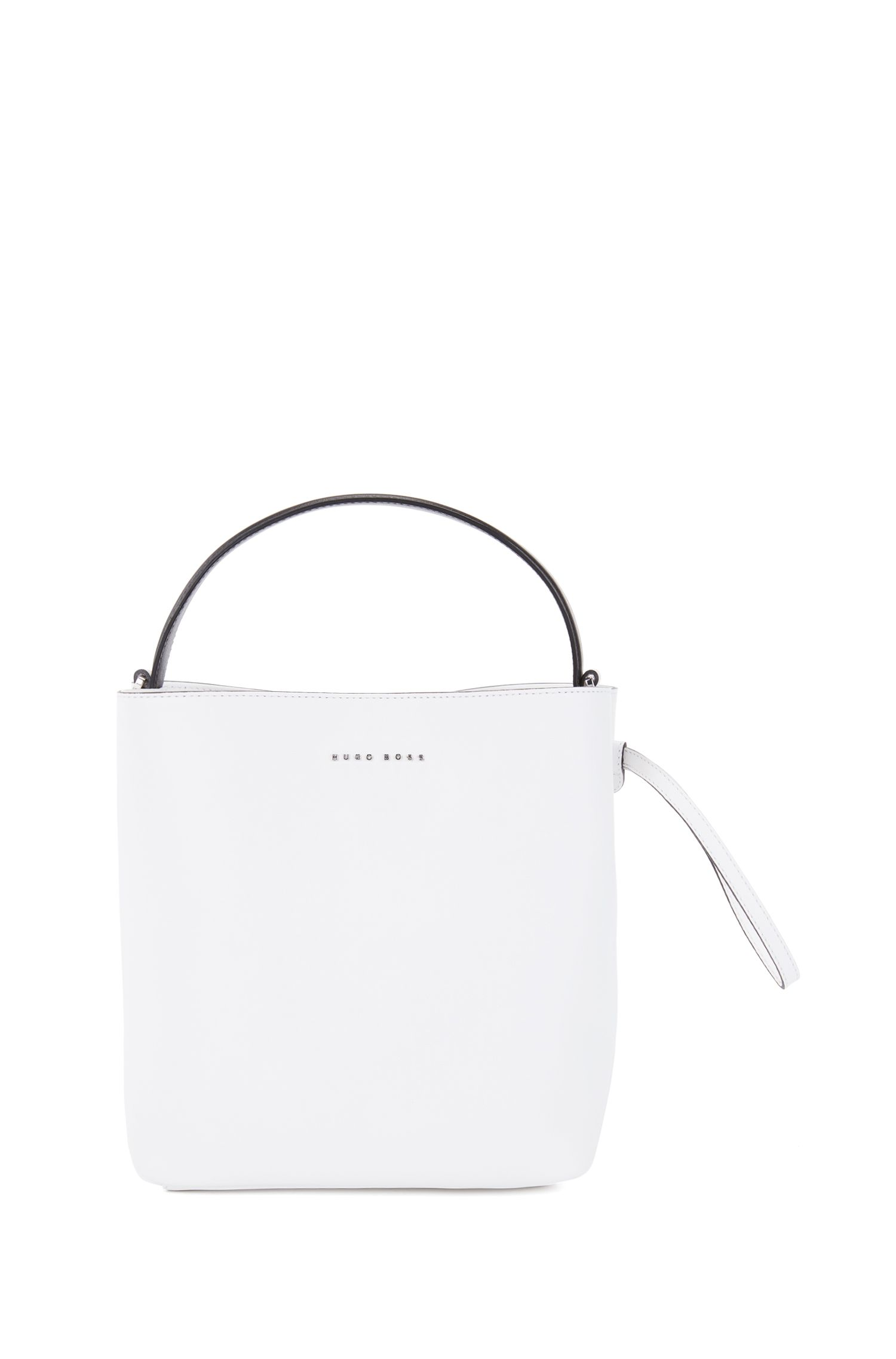 Sac seau de la collection Gallery en cuir nappa italien monochrome, Blanc