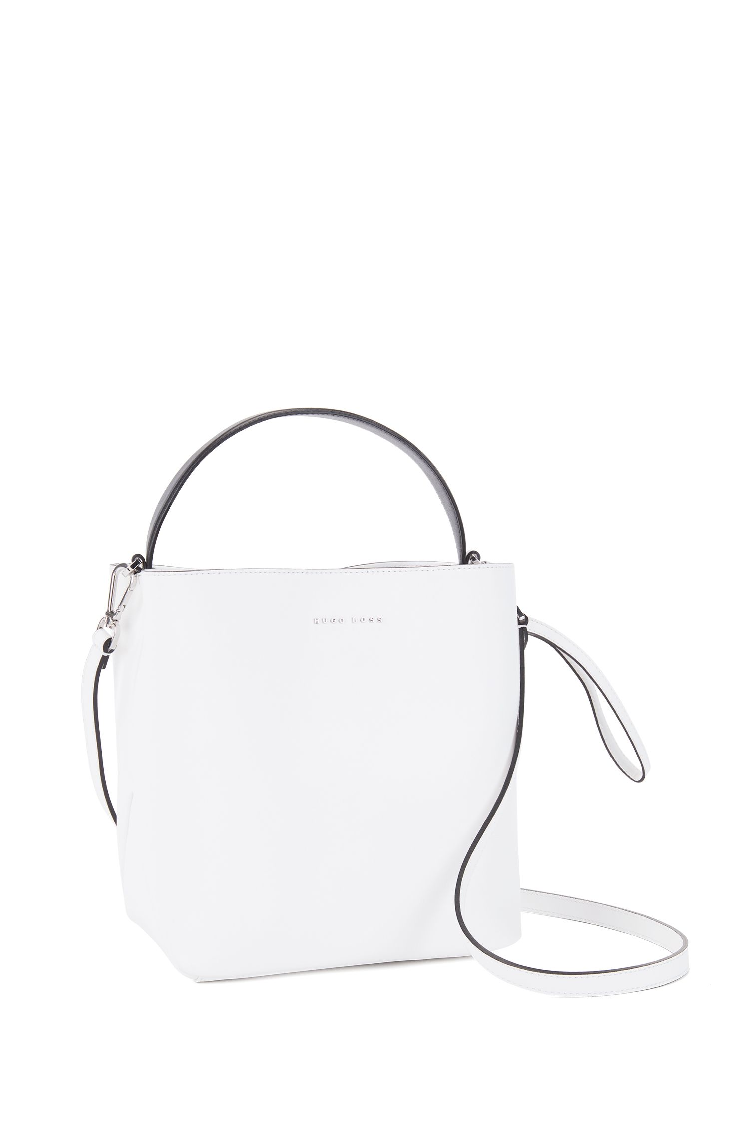 HUGO BOSS Gallery Collection bucket bag in monochrome Italian nappa leather