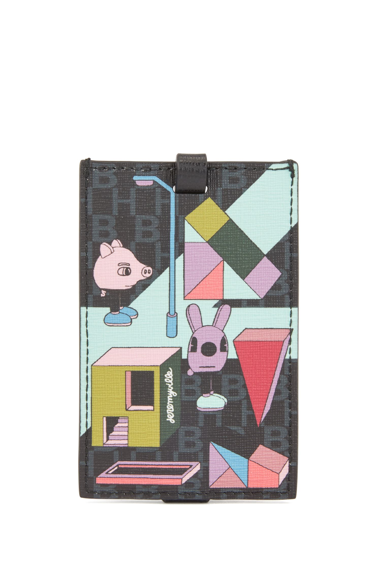Jeremyville luggage tag in calf leather and coated Italian fabric, Patterned
