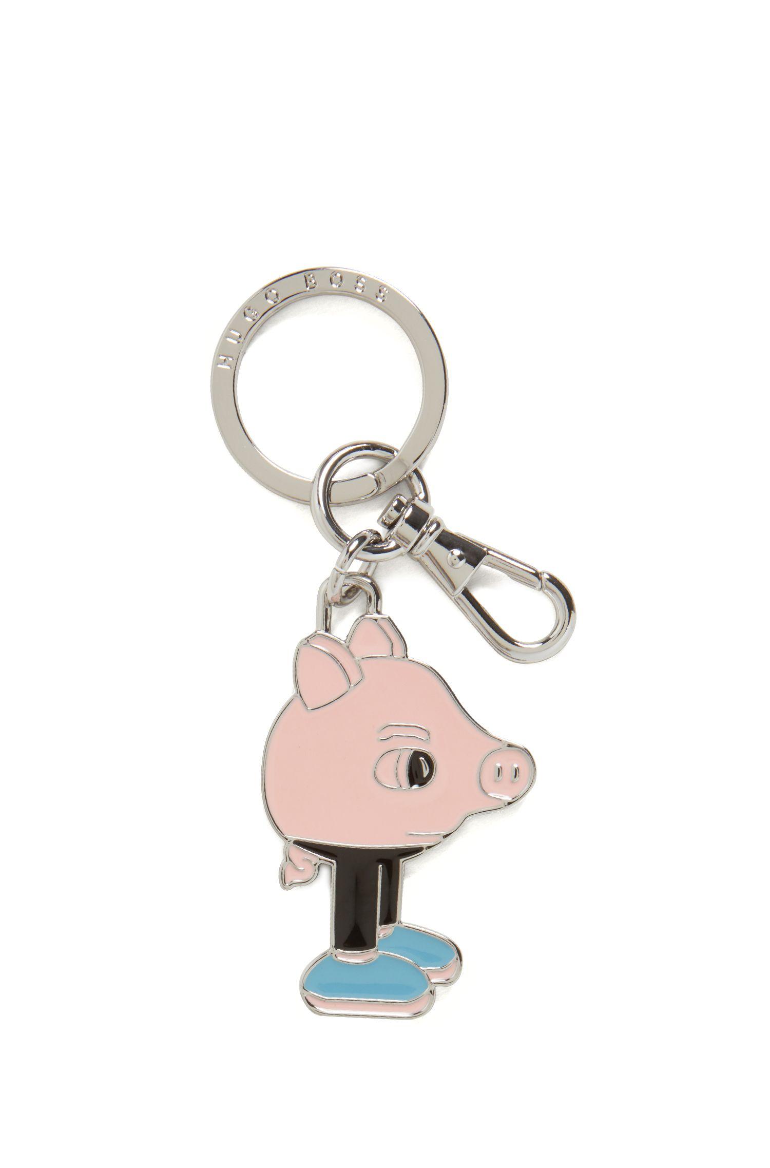 Schlüsselanhänger mit Emaille-Schweinchen im Jeremyville-Design, Pink