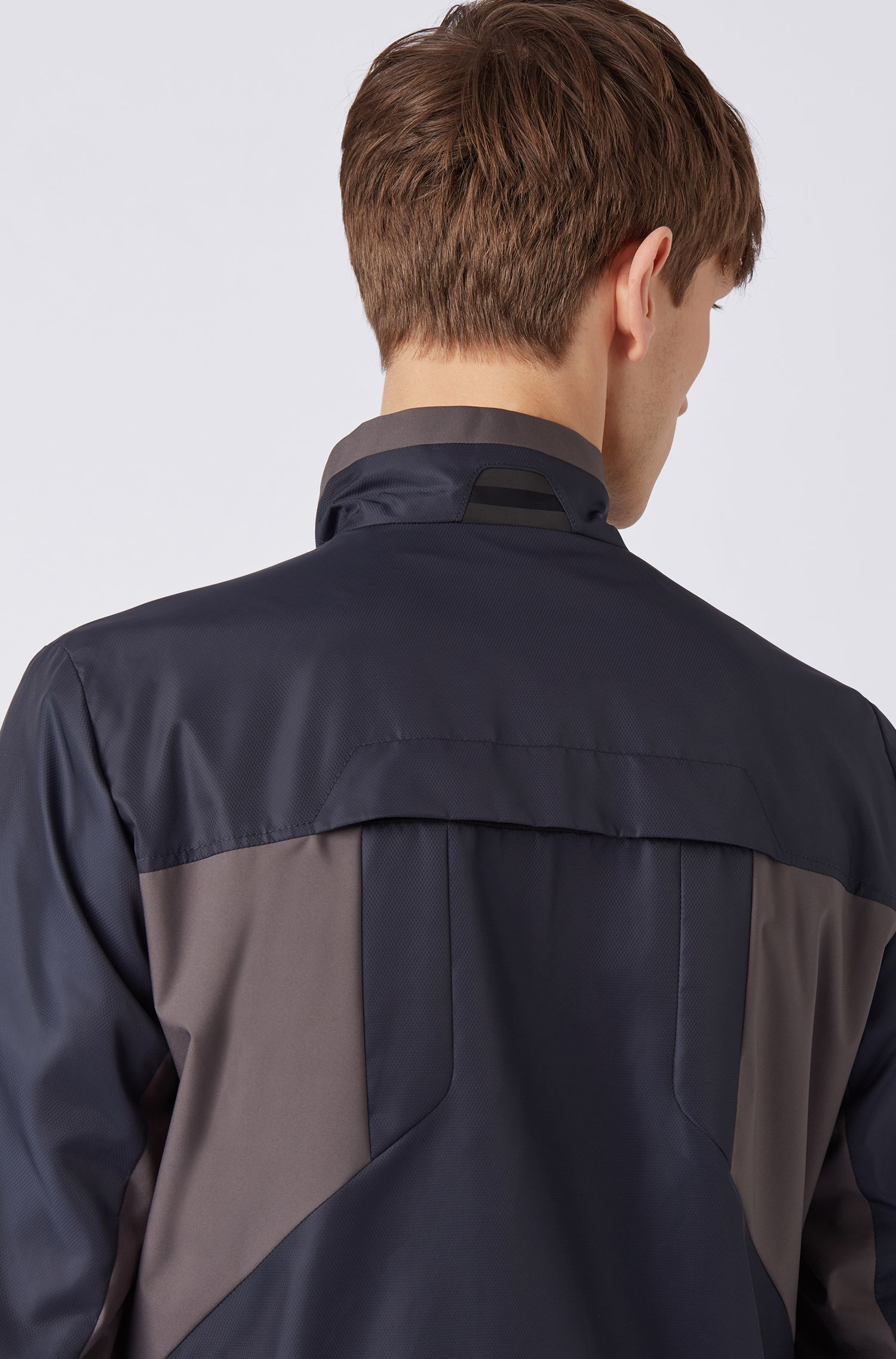 Water-repellent Link² jacket in micro-structured diamond fabric, Dark Blue
