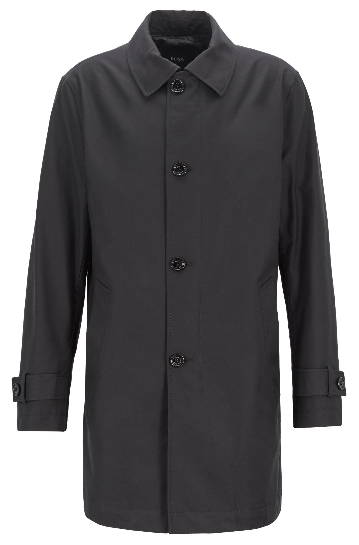 Button-through overcoat in eco-friendly twill, Black
